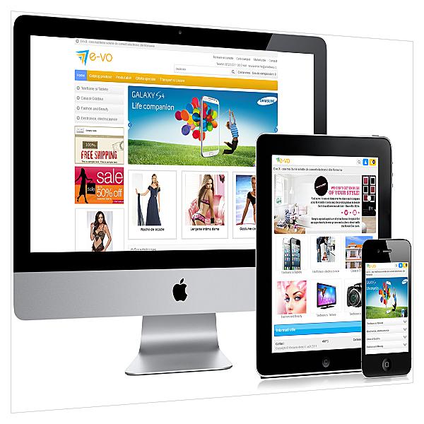 Versiune pentru telefon mobil si tableta magazin online E-vo X