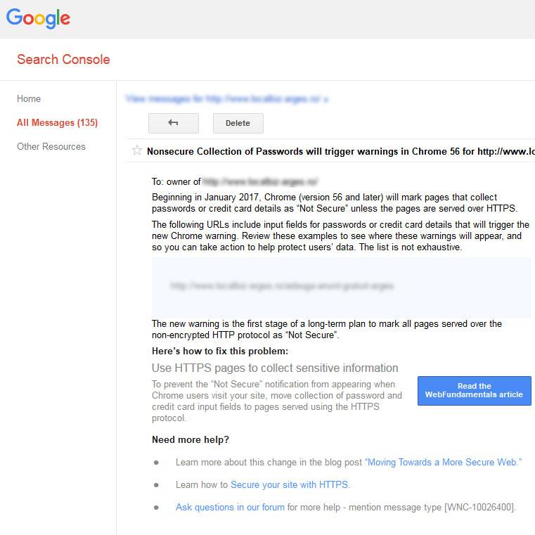 Mesajul Google Search Console